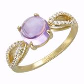 Золотое кольцо с полудрагоценной вставкой, круглый шар с фианитами