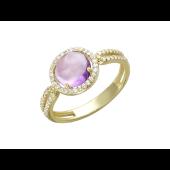 Золотое кольцо, гладкая круглая полудрагоценная вставка в обрамлении из фианитов