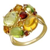 Кольцо с гранатами, кварцем, цитрином и хризолитами из желтого золота 585 пробы