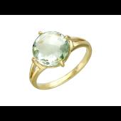 Кольцо, желтое золото, большой полудраг круглой формы