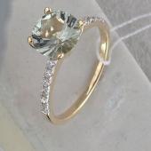Кольцо Promise с зеленым аметистом и фианитами, желтое золото