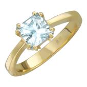 Кольцо с бесцветным аметистом из желтого золота 585 пробы
