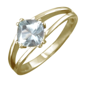 Кольцо с большим квадратным топазом, желтое золото