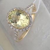 Кольцо с кварцем и фианитами, желтое золото