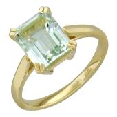 Кольцо с прямоугольным аметистом, желтое золото