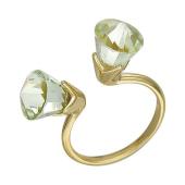 Кольцо Цветы с празиолитами из желтого золота 585 пробы