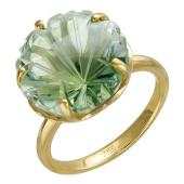 Кольцо Цветок с празиолитом из желтого золота 585 пробы