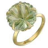 Кольцо Цветы с празиолитом, желтое золото