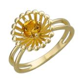 Кольцо Колибри с круглым цитрином (хризолитом), желтое золото