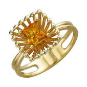 Кольцо Колибри с квадратным цитрином, желтое золото