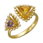 Кольцо Колибри с треугольными аметистом и цитрином, желтое золото