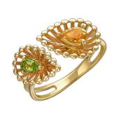 Кольцо Колибри с хризолитом и цитрином, желтое золото