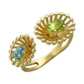 Кольцо Колибри с хризолитом и топазом, желтое золото
