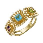 Кольцо Колибри с квадратными топазом, аметистом и хризолитом, желтое золото