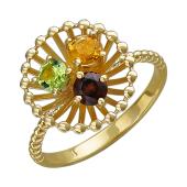 Кольцо Колибри с круглыми гранатом, цитрином и хризолитом, желтое золото