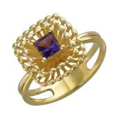 Кольцо с аметистом из желтого золота 585 пробы