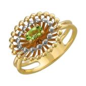 Кольцо Колибри с хризолитом, желтое золото