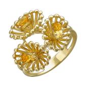 Кольцо Цветы с цитринами из желтого золота 585 пробы