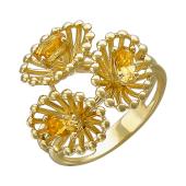 Кольцо Колибри с овальными цитринами, желтое золото