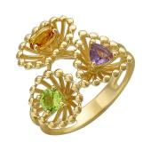 Кольцо с аметистом, хризолитом и цитрином, желтое золото