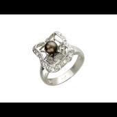 Кольцо Паутинка с жемчугом и фианитами, серебро