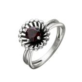 Кольцо Колибри с гранатом, серебро