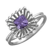 Кольцо Колибри с квадратным аметистом, серебро