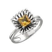 Кольцо Колибри с квадратным цитрином, серебро