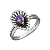 Кольцо Колибри Капелька с аметистами, серебро