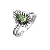 Кольцо Колибри Капелька с хризолитом, серебро