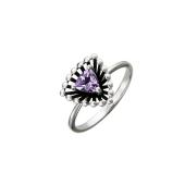 Кольцо Колибри с треугольным аметистом, серебро