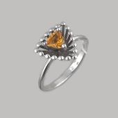 Кольцо Колибри с треугольным цитрином, серебро