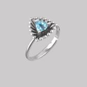 Кольцо Колибри с треугольным топазом, серебро