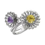 Кольцо Колибри с аметистом и цитрином, серебро