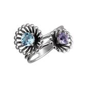Кольцо Колибри с аметистом, топазом, серебро