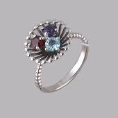 Кольцо Колибри с топазом, гранатом, аметистом, серебро
