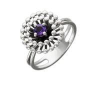 Кольцо Колибри с круглым аметистом, серебро