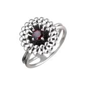 Кольцо Колибри с круглым гранатом, серебро