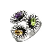 Кольцо Колибри с цитрином, аметистом, хризолитом, серебро