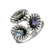 Кольцо Колибри с топазом, аметистом, хризолитом, серебро