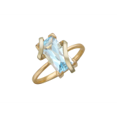 Кольцо Спираль с крупным полудрагом, комбинированное золото