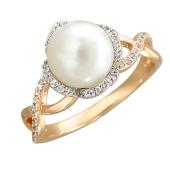 Кольцо с жемчугом и фианитами, красное и белое золото