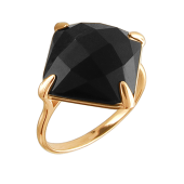 Кольцо с черным агатом из красного золота