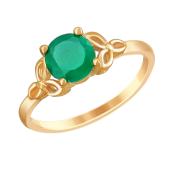 Кольцо с зеленым агатом из красного золота 585 пробы