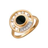 Кольцо с круглым ониксом и фианитами, красное золото