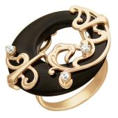 Кольцо с агатом и фианитами из красного золота
