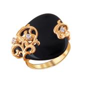 Кольцо Капля с агатом и фианитами из красного золота