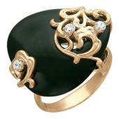 Кольцо с черным агатом в форме семечки и фианитами, красное золото, 585 проба