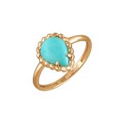 Кольцо Капля с бирюзой, красное золото