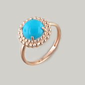 Кольцо с круглой бирюзой из красного золота 585 пробы
